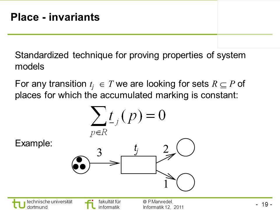 - 19 - technische universität dortmund fakultät für informatik P.Marwedel, Informatik 12, 2011 Place - invariants For any transition t j T we are look