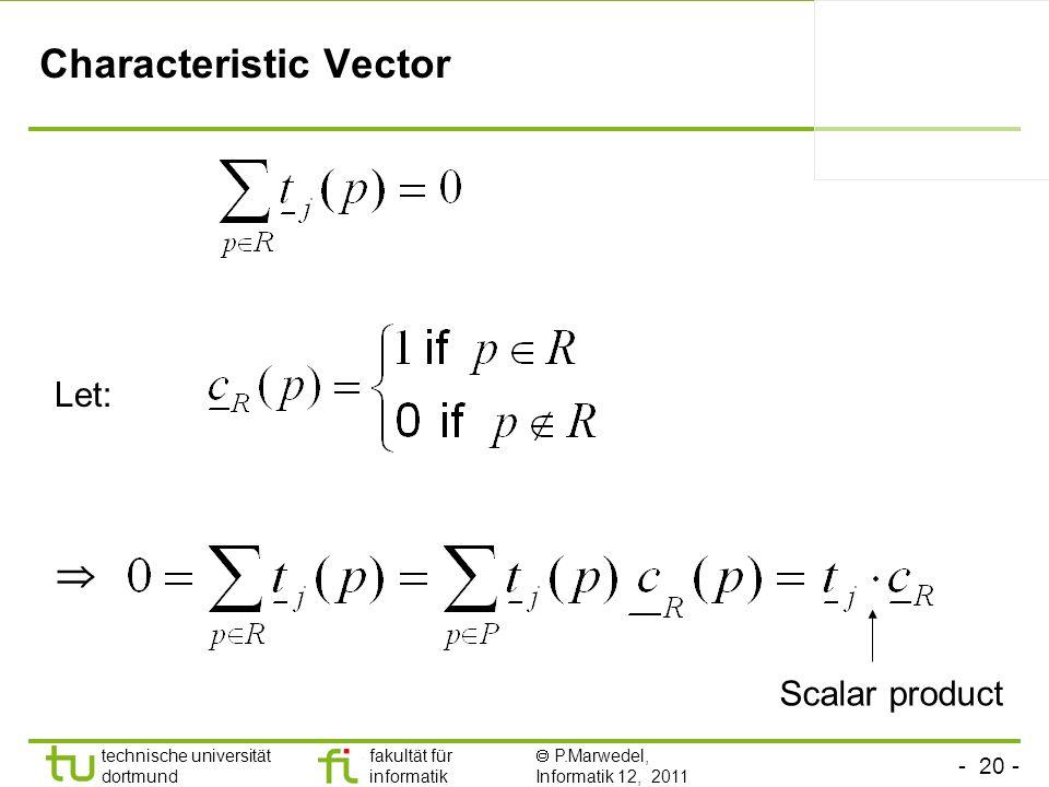- 20 - technische universität dortmund fakultät für informatik P.Marwedel, Informatik 12, 2011 Characteristic Vector Let: Scalar product