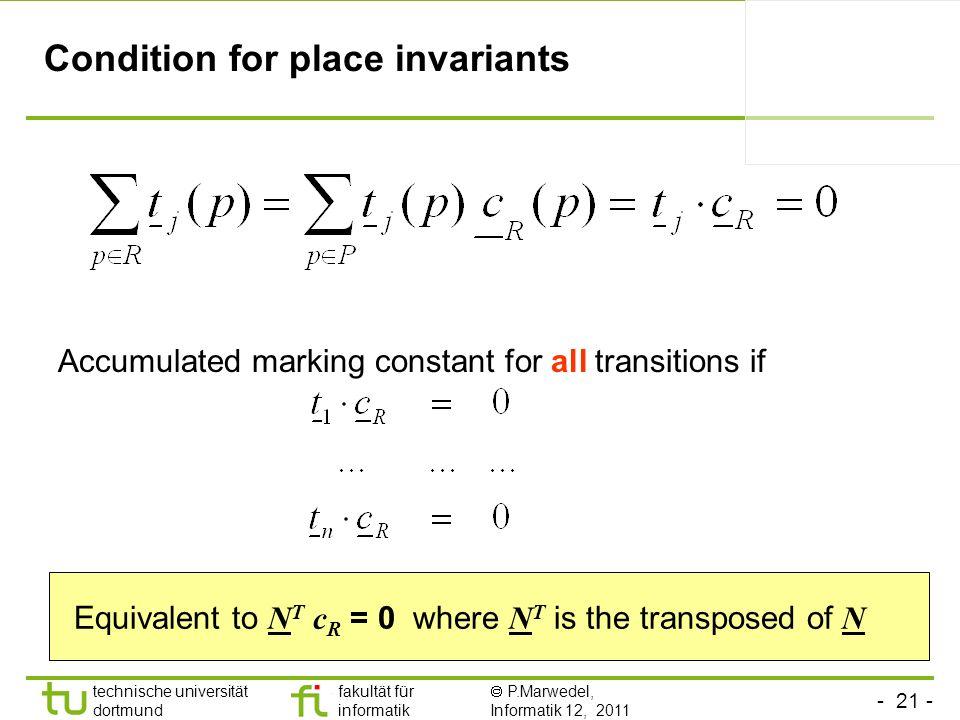 - 21 - technische universität dortmund fakultät für informatik P.Marwedel, Informatik 12, 2011 Condition for place invariants Accumulated marking cons