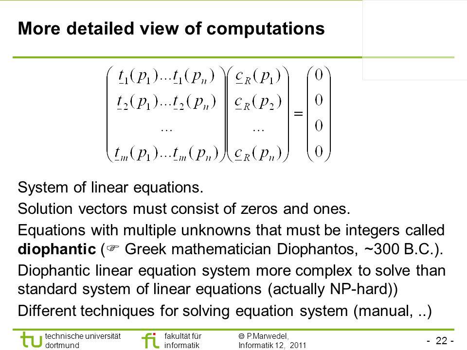 - 22 - technische universität dortmund fakultät für informatik P.Marwedel, Informatik 12, 2011 More detailed view of computations System of linear equ