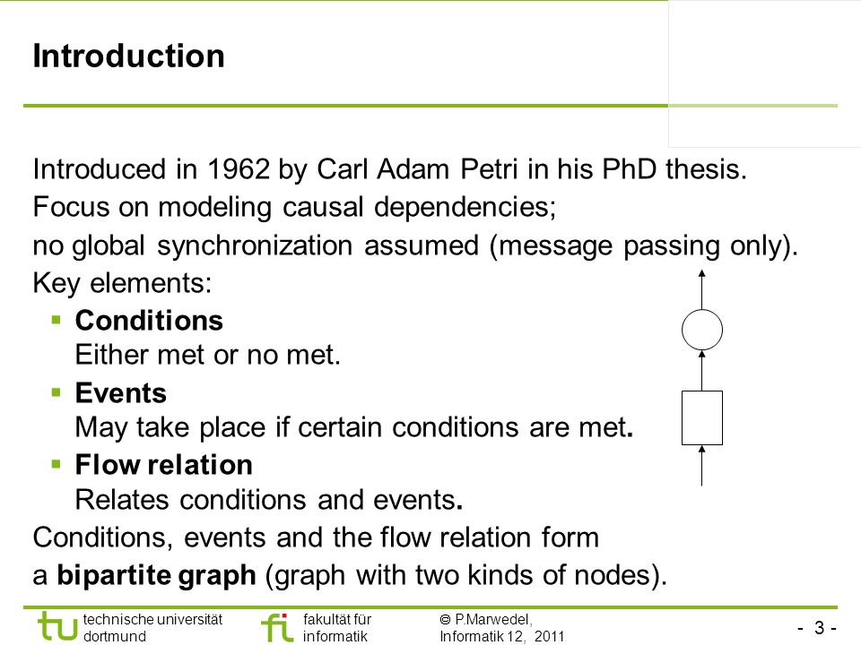 - 3 - technische universität dortmund fakultät für informatik P.Marwedel, Informatik 12, 2011 Introduction Introduced in 1962 by Carl Adam Petri in hi