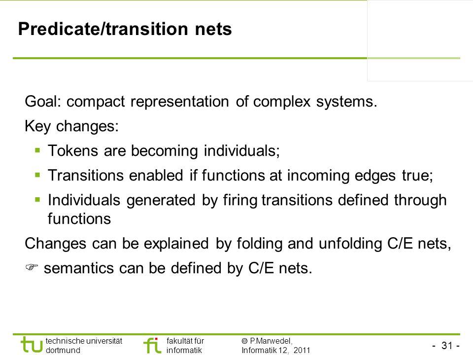 - 31 - technische universität dortmund fakultät für informatik P.Marwedel, Informatik 12, 2011 Predicate/transition nets Goal: compact representation