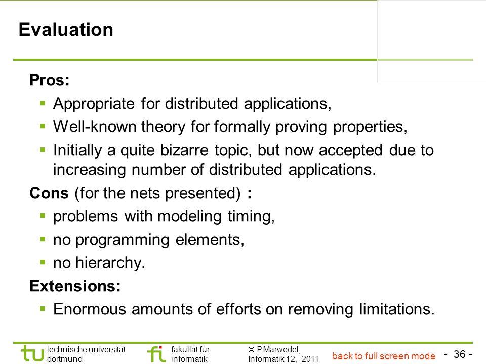 - 36 - technische universität dortmund fakultät für informatik P.Marwedel, Informatik 12, 2011 Evaluation Pros: Appropriate for distributed applicatio