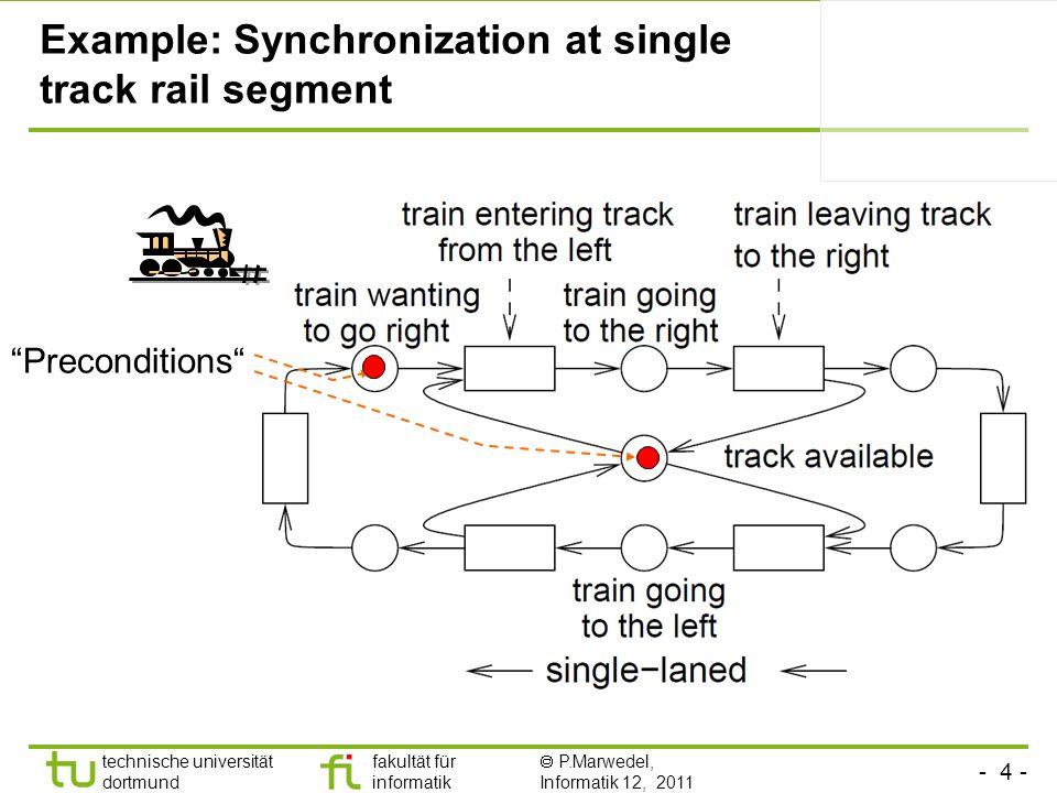 - 4 - technische universität dortmund fakultät für informatik P.Marwedel, Informatik 12, 2011 Example: Synchronization at single track rail segment Pr