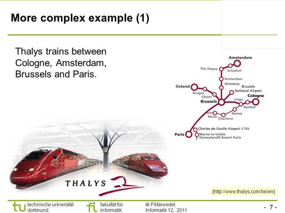- 7 - technische universität dortmund fakultät für informatik P.Marwedel, Informatik 12, 2011 More complex example (1) Thalys trains between Cologne,