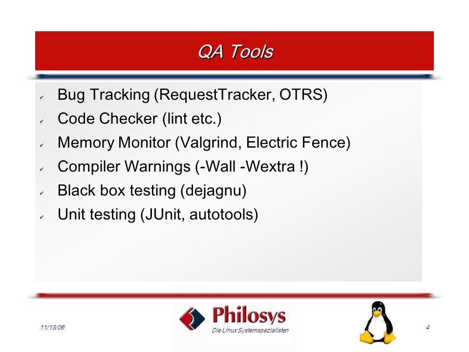 Die Linux Systemspezialisten 11/13/065 Unit Testing Background: eXtreme Programming Goal: Automated, ubiquitous testing Frameworks: Junit, PyUnit, Test::Unit, autounit,...