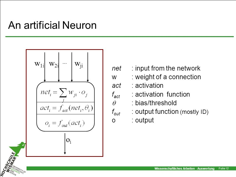 Wissenschaftliches Arbeiten - Auswertung Folie 12 An artificial Neuron net: input from the network w: weight of a connection act: activation f act : a
