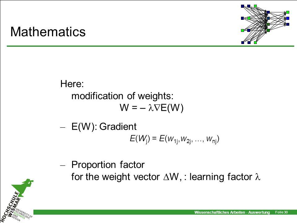 Wissenschaftliches Arbeiten - Auswertung Folie 30 Mathematics Here: modification of weights: W = – E(W) – E(W): Gradient – Proportion factor for the w