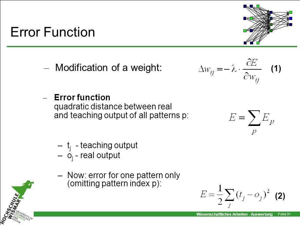 Wissenschaftliches Arbeiten - Auswertung Folie 31 Error Function – Error function quadratic distance between real and teaching output of all patterns