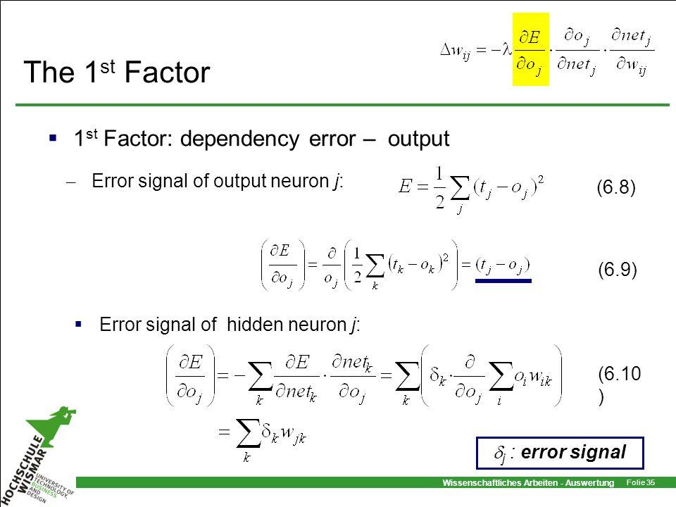 Wissenschaftliches Arbeiten - Auswertung Folie 35 The 1 st Factor 1 st Factor: dependency error – output Error signal of hidden neuron j: (6.8) (6.10