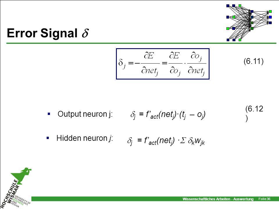 Wissenschaftliches Arbeiten - Auswertung Folie 36 Error Signal j = f act (net j )·(t j – o j ) Output neuron j: Hidden neuron j: j = f act (net j ) ·