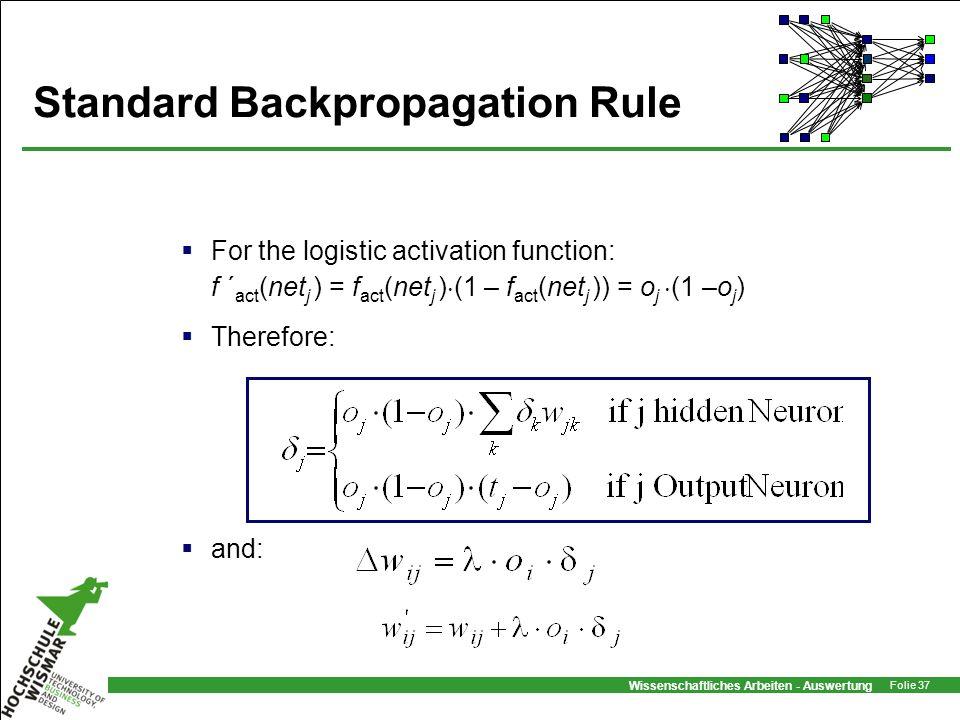 Wissenschaftliches Arbeiten - Auswertung Folie 37 Standard Backpropagation Rule For the logistic activation function: f ´ act (net j ) = f act (net j