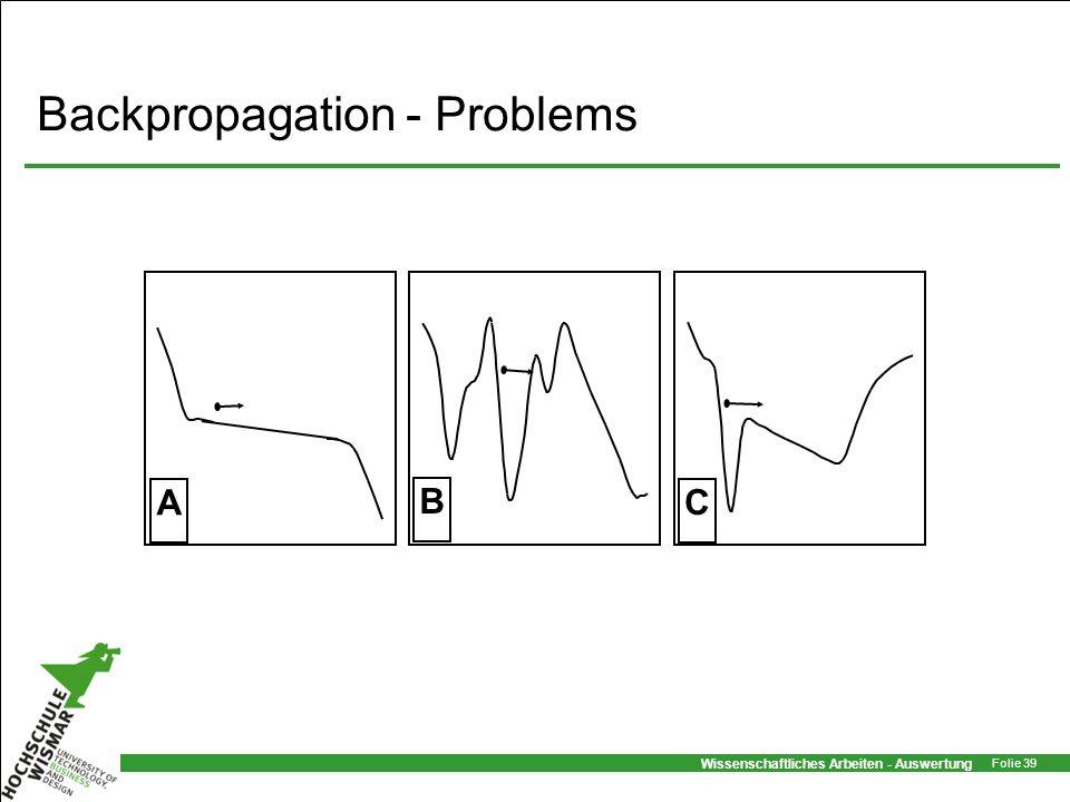 Wissenschaftliches Arbeiten - Auswertung Folie 39 Backpropagation - Problems B C A