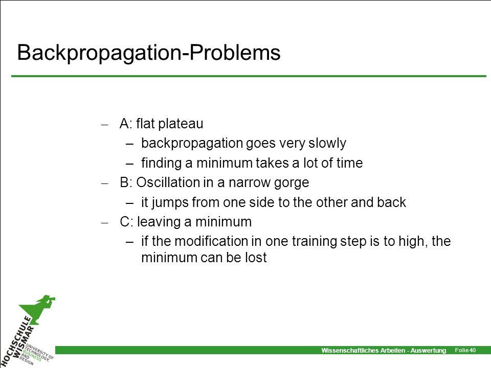 Wissenschaftliches Arbeiten - Auswertung Folie 40 Backpropagation-Problems – A: flat plateau –backpropagation goes very slowly –finding a minimum take