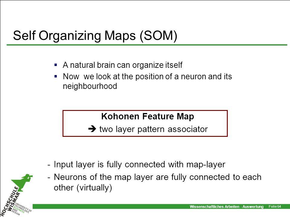 Wissenschaftliches Arbeiten - Auswertung Folie 54 Self Organizing Maps (SOM) A natural brain can organize itself Now we look at the position of a neur