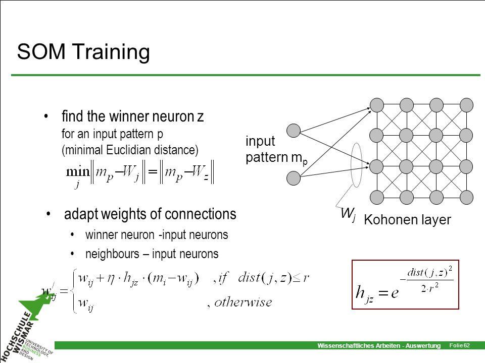 Wissenschaftliches Arbeiten - Auswertung Folie 62 SOM Training find the winner neuron z for an input pattern p (minimal Euclidian distance) adapt weig
