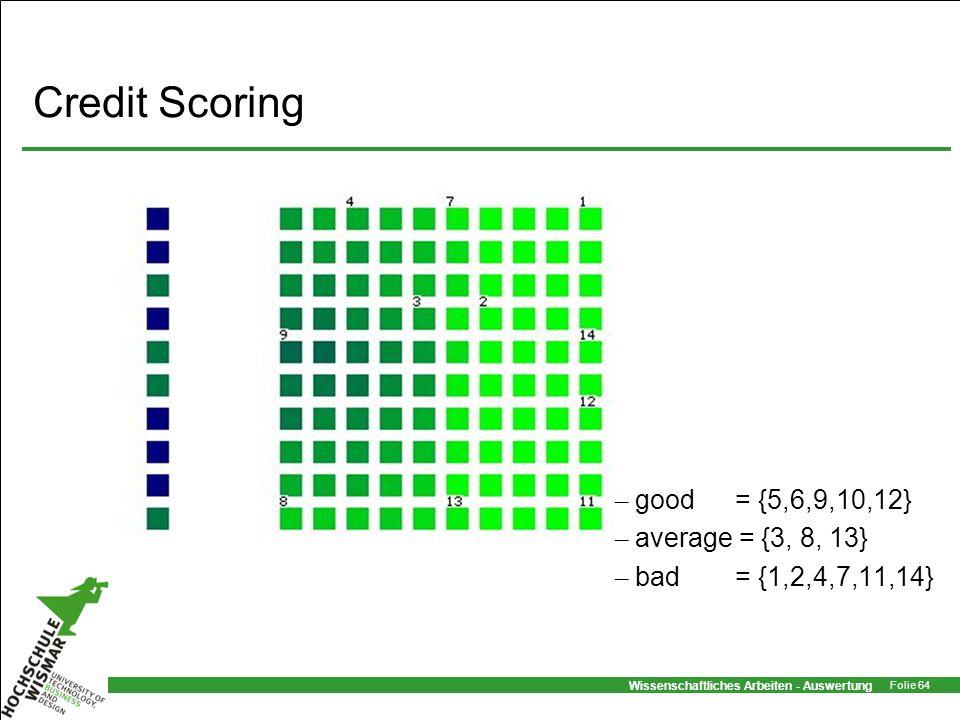 Wissenschaftliches Arbeiten - Auswertung Folie 64 Credit Scoring – good = {5,6,9,10,12} – average = {3, 8, 13} – bad= {1,2,4,7,11,14}