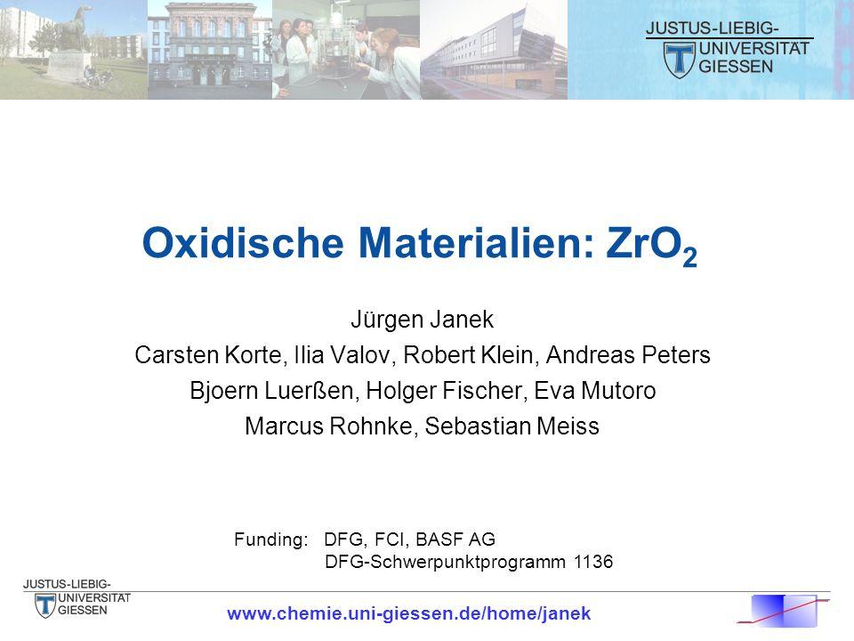 Oxidische Materialien: ZrO 2 Jürgen Janek Carsten Korte, Ilia Valov, Robert Klein, Andreas Peters Bjoern Luerßen, Holger Fischer, Eva Mutoro Marcus Ro