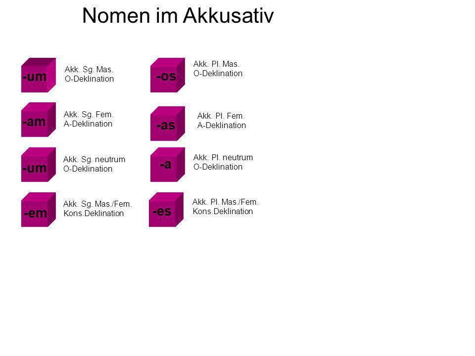 Nomen im Akkusativ -um -am -um -os -as -a -em -es Akk.