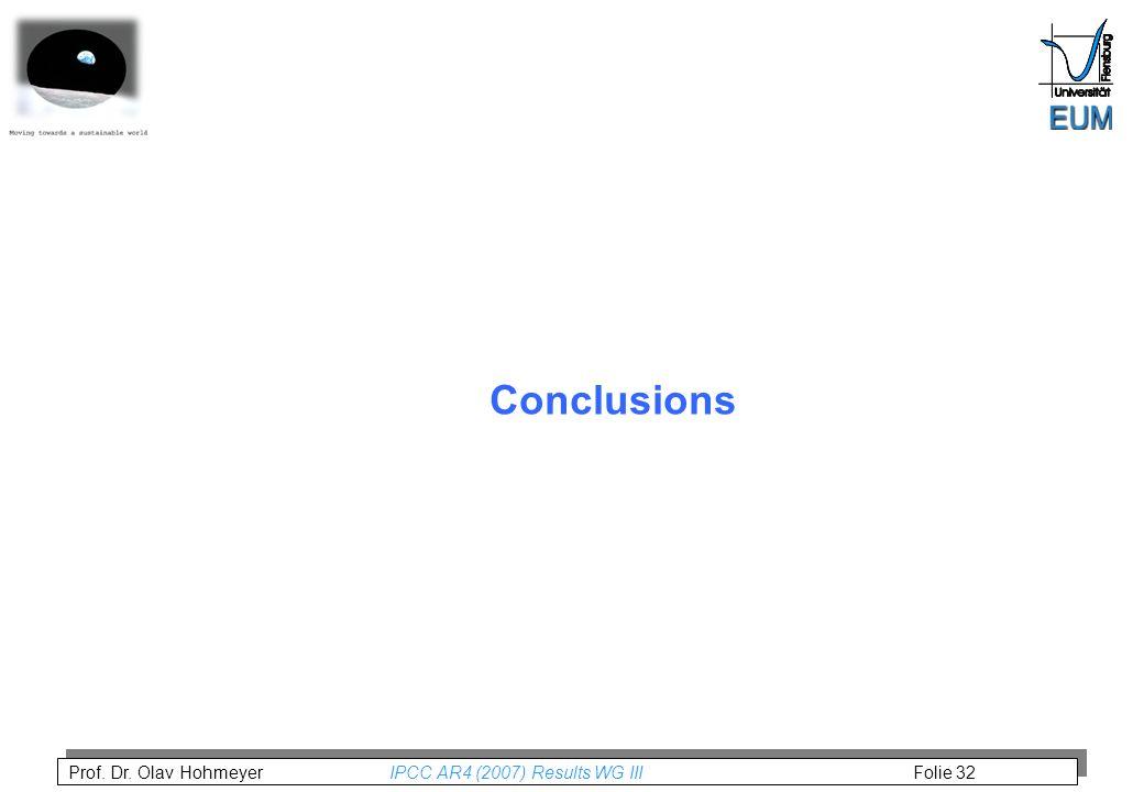 Prof. Dr. Olav Hohmeyer IPCC AR4 (2007) Results WG III Folie 32 Conclusions