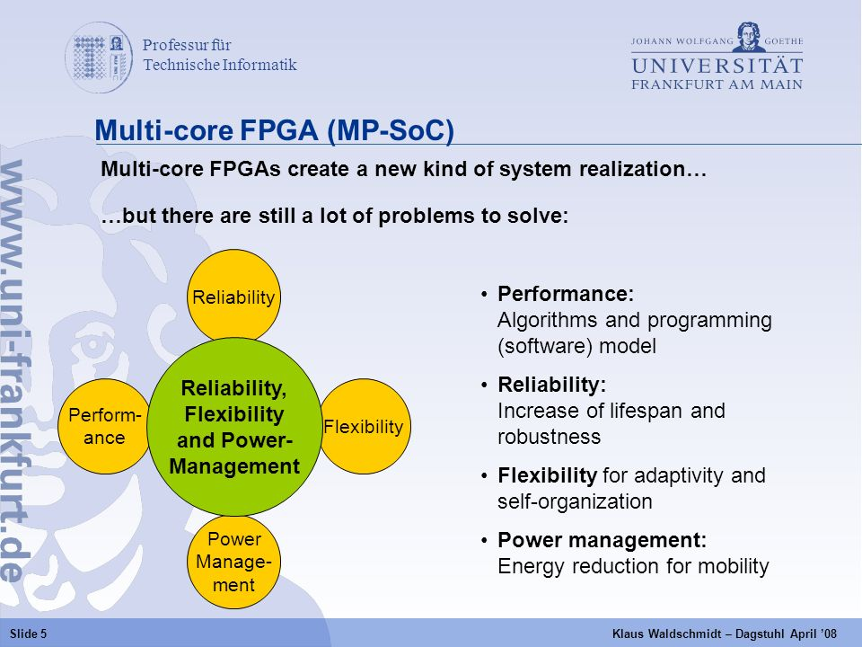 Professur für Technische Informatik a Slide 5 Klaus Waldschmidt – Dagstuhl April 08 Multi-core FPGA (MP-SoC) Multi-core FPGAs create a new kind of system realization… …but there are still a lot of problems to solve: Power Manage- ment Reliability Perform- ance Flexibility Reliability, Flexibility and Power- Management Performance: Algorithms and programming (software) model Reliability: Increase of lifespan and robustness Flexibility for adaptivity and self-organization Power management: Energy reduction for mobility