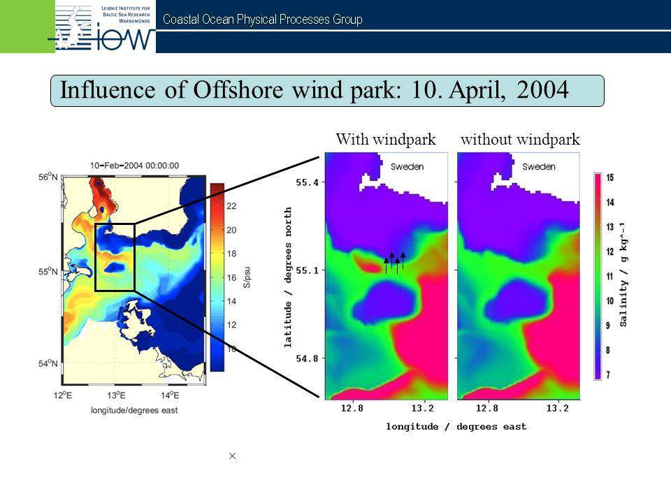 QuantAS - Off Influence of Offshore wind park: 10. April, 2004 With windpark without windpark