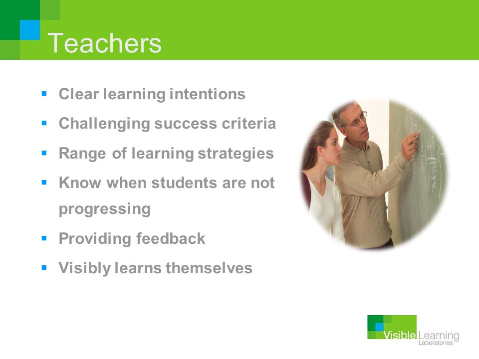 Teachers Clear learning intentions Challenging success criteria Range of learning strategies Know when students are not progressing Providing feedback