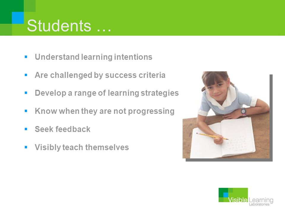 Students … Understand learning intentions Are challenged by success criteria Develop a range of learning strategies Know when they are not progressing