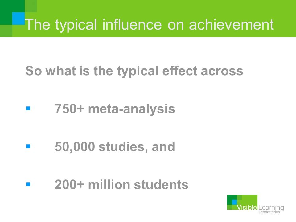 The typical influence on achievement So what is the typical effect across 750+ meta-analysis 50,000 studies, and 200+ million students