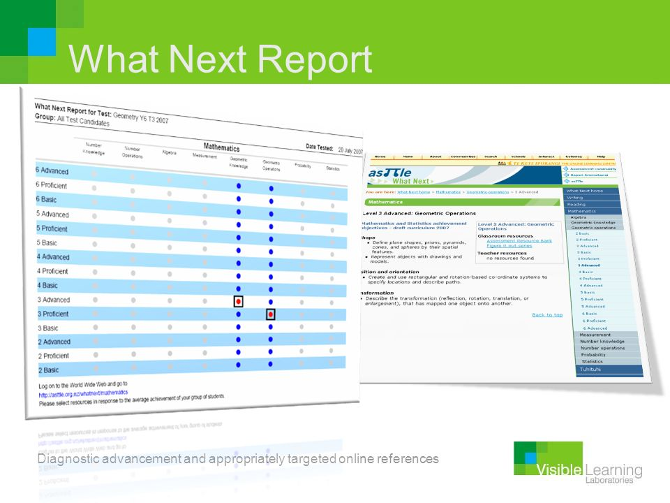 What Next Report Diagnostic advancement and appropriately targeted online references