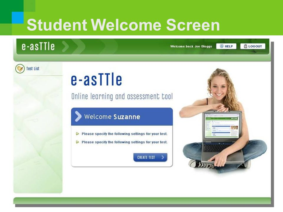 Student Welcome Screen