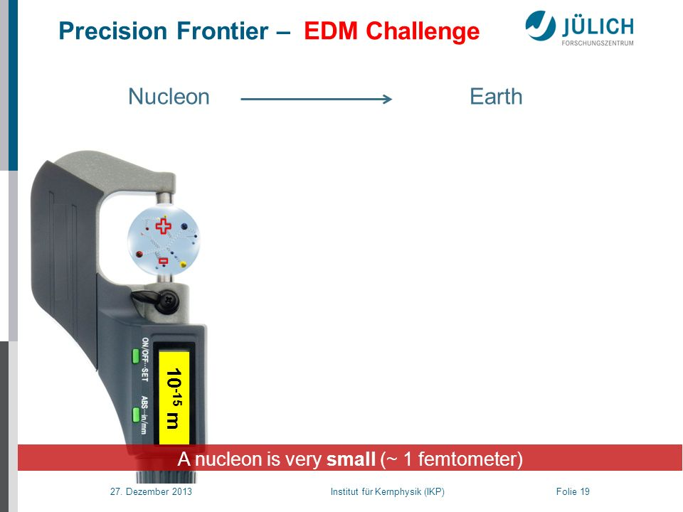 27. Dezember 2013 Institut für Kernphysik (IKP) Folie 19 A nucleon is very small (~ 1 femtometer) Nucleon Earth Precision Frontier – EDM Challenge 10