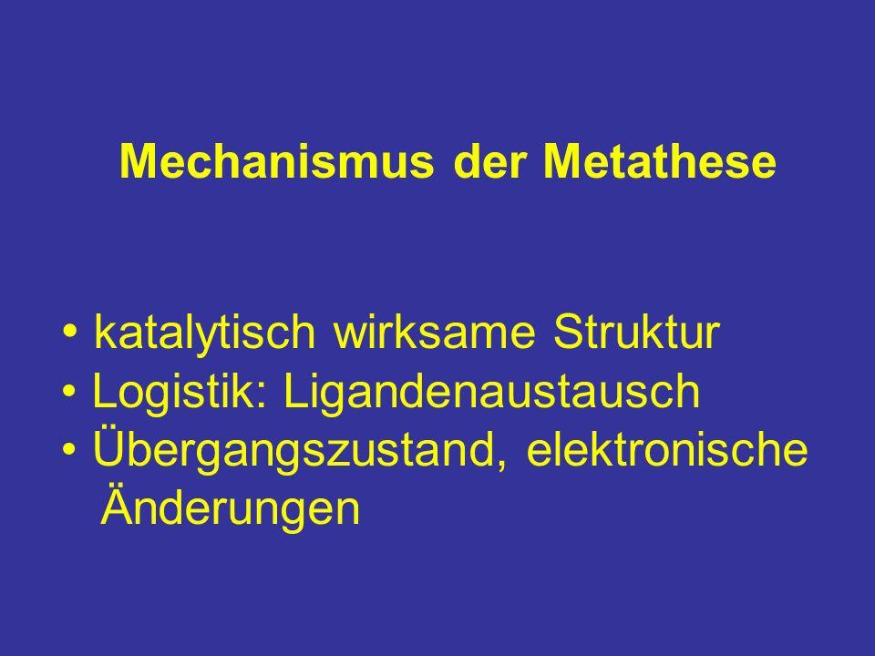 Mechanismus der Metathese katalytisch wirksame Struktur Logistik: Ligandenaustausch Übergangszustand, elektronische Änderungen