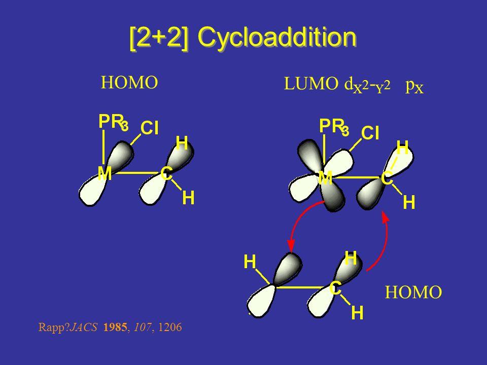 [2+2] Cycloaddition HOMO LUMO d X 2 - Y 2 p X HOMO Rapp?JACS 1985, 107, 1206