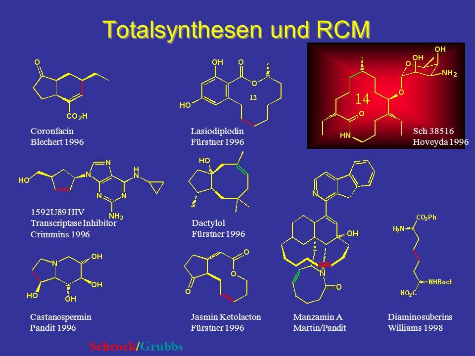 Totalsynthesen und RCM Diaminosuberins Williams 1998 1592U89 HIV Transcriptase Inhibitor Crimmins 1996 Castanospermin Pandit 1996 Lasiodiplodin Fürstn