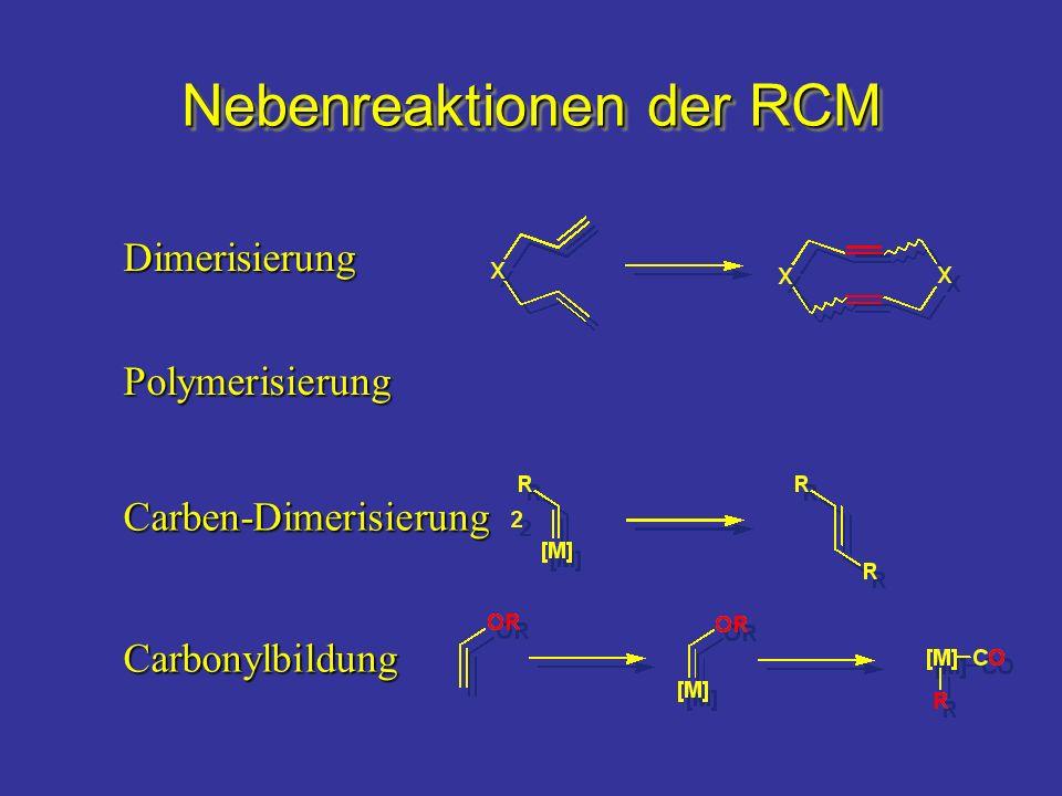 Nebenreaktionen der RCM Carben-Dimerisierung Carbonylbildung Polymerisierung Dimerisierung