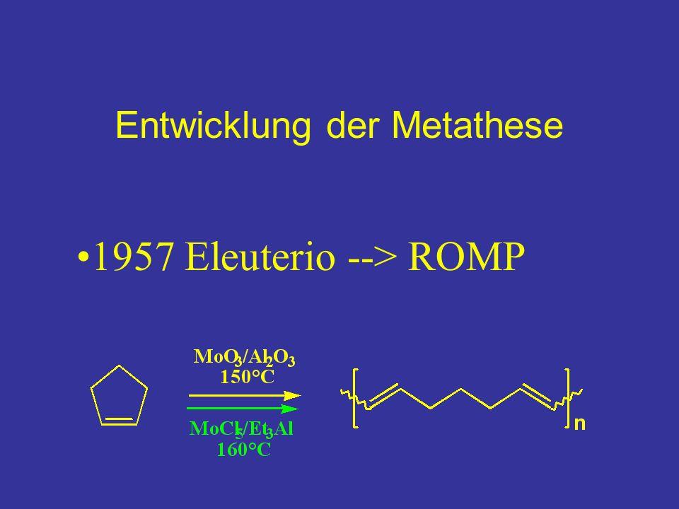 Entwicklung der Metathese 1957 Eleuterio --> ROMP