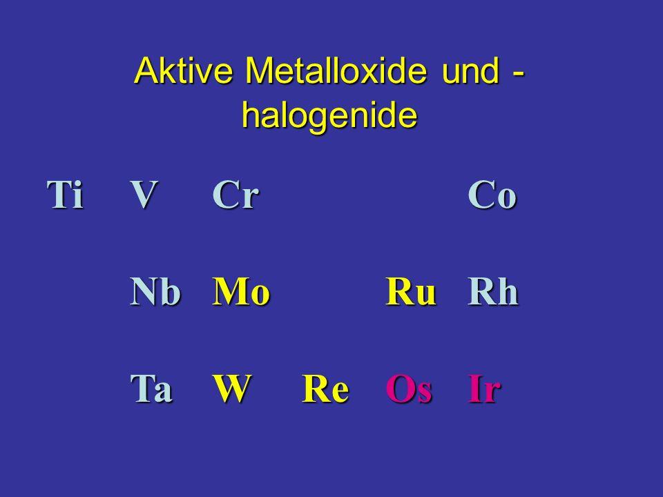 TiVCrCo NbMoRuRh TaWReOsIr Aktive Metalloxide und - halogenide