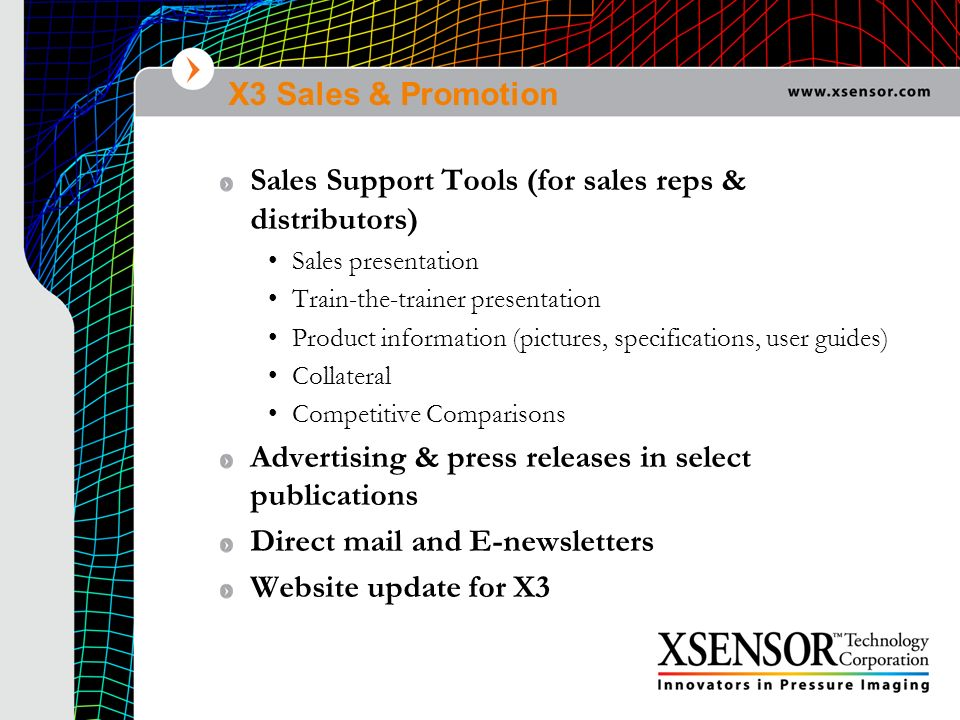 X3 Sales & Promotion Sales Support Tools (for sales reps & distributors) Sales presentation Train-the-trainer presentation Product information (pictur