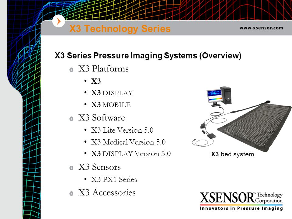X3 Technology Series X3 Platforms (3) X3 the new benchmark in pressure imaging field for PC/laptop computer based systems small, light-weight all-purpose electronic data logging device supports up to 3 sensor connections with a maximum data acquisition rate of 120,000s/s X3 DISPLAY the easiest system to setup, carry, use, and share your dynamic pressure images handheld portable electronic data logging and data display device TouchScreen interface, CF & SD memory card ports, data synch, voice recording & playback, keyboard/mouse/VGA connection, wireless capability Supports up to 3 sensor connections X3 MOBILE Enables dynamic pressure imaging data to be viewed remotely in real time Wearable wireless electronic data logging device CF wireless, CF & SD memory card ports, data synch Supports up to 3 sensor connections