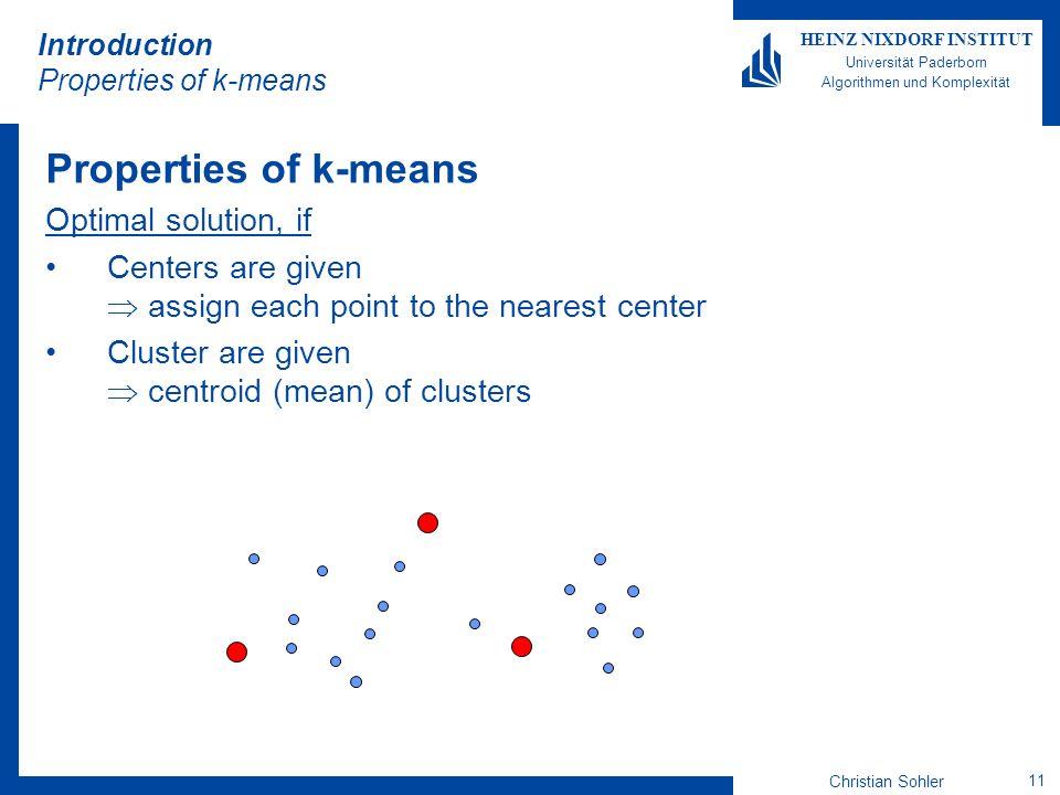 Christian Sohler 11 HEINZ NIXDORF INSTITUT Universität Paderborn Algorithmen und Komplexität Introduction Properties of k-means Properties of k-means