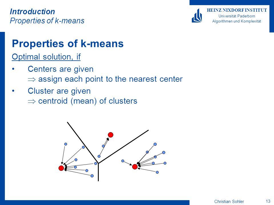 Christian Sohler 13 HEINZ NIXDORF INSTITUT Universität Paderborn Algorithmen und Komplexität Introduction Properties of k-means Properties of k-means