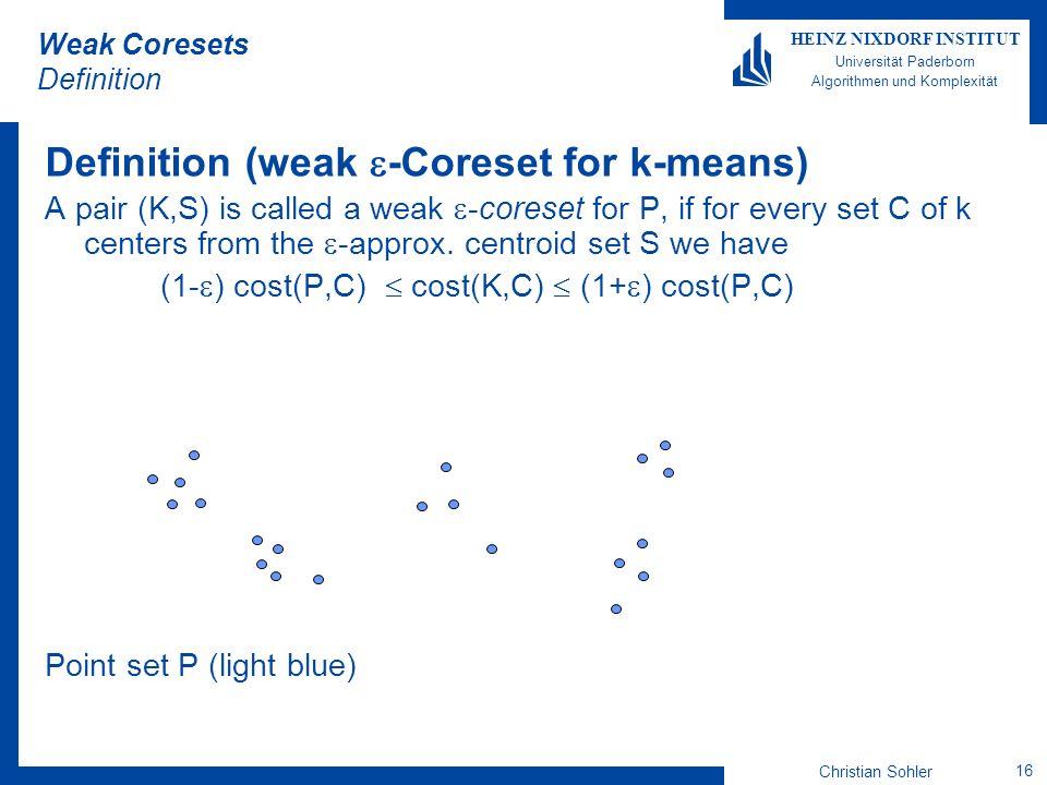 Christian Sohler 16 HEINZ NIXDORF INSTITUT Universität Paderborn Algorithmen und Komplexität Weak Coresets Definition Definition (weak -Coreset for k-