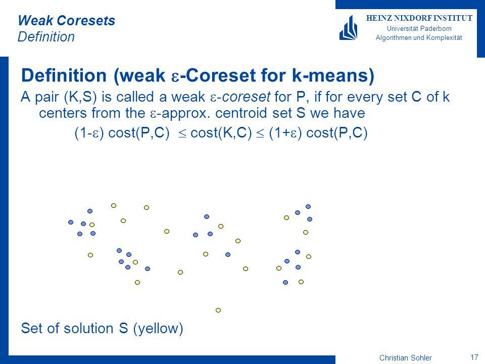 Christian Sohler 17 HEINZ NIXDORF INSTITUT Universität Paderborn Algorithmen und Komplexität Weak Coresets Definition Definition (weak -Coreset for k-