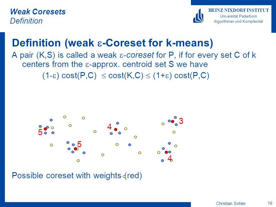 Christian Sohler 18 HEINZ NIXDORF INSTITUT Universität Paderborn Algorithmen und Komplexität Weak Coresets Definition Definition (weak -Coreset for k-