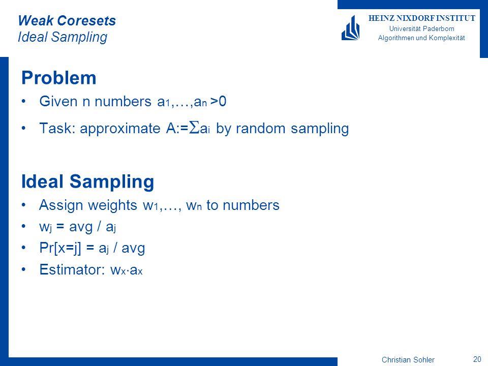 Christian Sohler 20 HEINZ NIXDORF INSTITUT Universität Paderborn Algorithmen und Komplexität Weak Coresets Ideal Sampling Problem Given n numbers a 1,