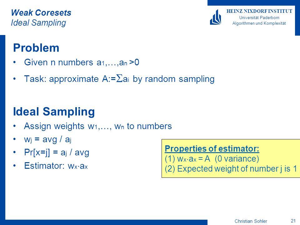 Christian Sohler 21 HEINZ NIXDORF INSTITUT Universität Paderborn Algorithmen und Komplexität Weak Coresets Ideal Sampling Problem Given n numbers a 1,
