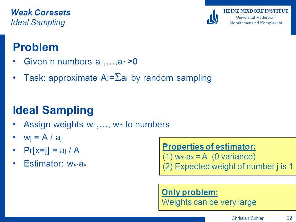 Christian Sohler 22 HEINZ NIXDORF INSTITUT Universität Paderborn Algorithmen und Komplexität Weak Coresets Ideal Sampling Problem Given n numbers a 1,