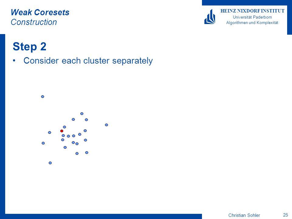 Christian Sohler 25 HEINZ NIXDORF INSTITUT Universität Paderborn Algorithmen und Komplexität Weak Coresets Construction Step 2 Consider each cluster s