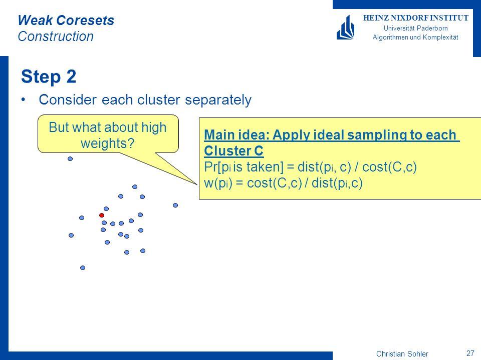 Christian Sohler 27 HEINZ NIXDORF INSTITUT Universität Paderborn Algorithmen und Komplexität Weak Coresets Construction Step 2 Consider each cluster s